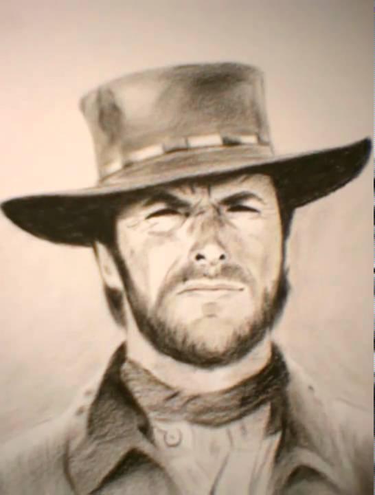 042 Clint Eastwood Cowboy Speed Painting Doovi