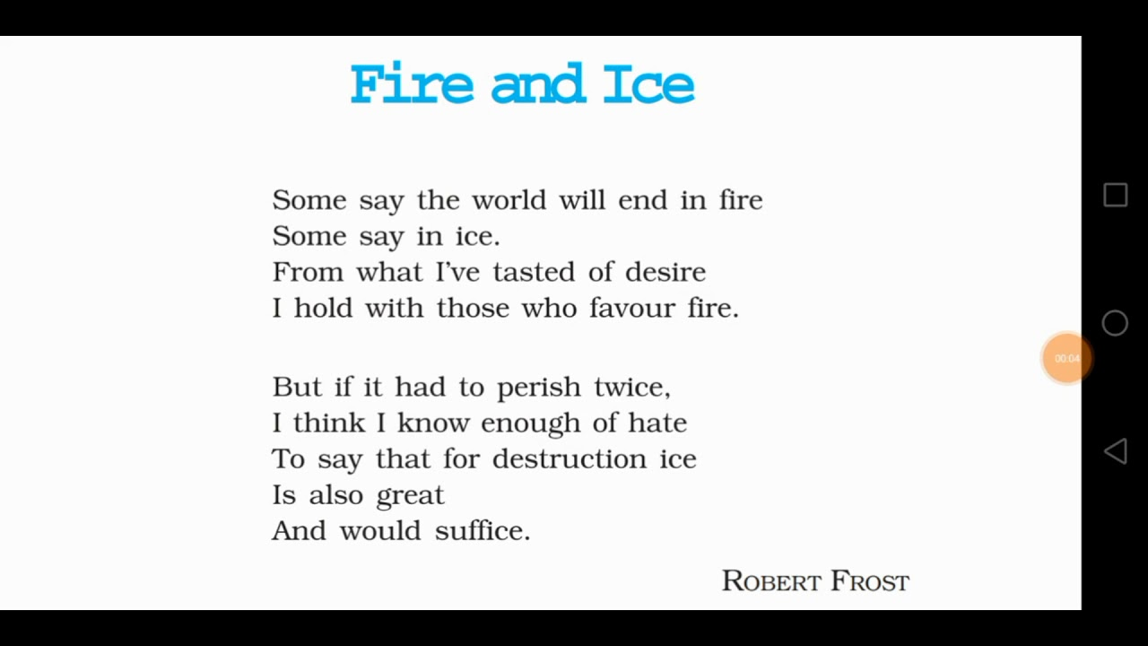 NCERT-CLASS 10th-English book-First flight-Fire and ice-poem-|Hindi  explanation|