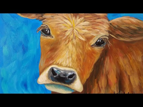 Cow Acrylic Painting Tutorial LIVE Beginner Step by Step Impressionist Lesson thumbnail