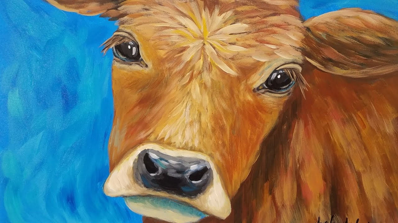 Cow Acrylic Painting Tutorial LIVE Beginner Step By Impressionist Lesson