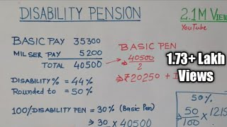 Disability pension ||disability pension calculation