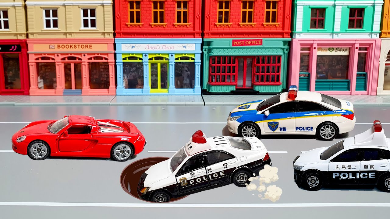Cars evading police pursuits. police car dispatch. Tomica Siku car toys play
