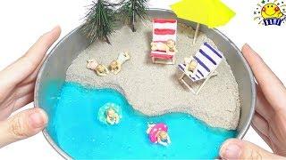 ミニチュア赤ちゃんに手作り箱庭プールをプレゼントするよ❤︎ グルーガンやスライムで浮き輪を工作DIY❤︎ clay slime beach たまごMammy