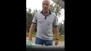 Psycho Old Man Smashes Windows Out With Baton