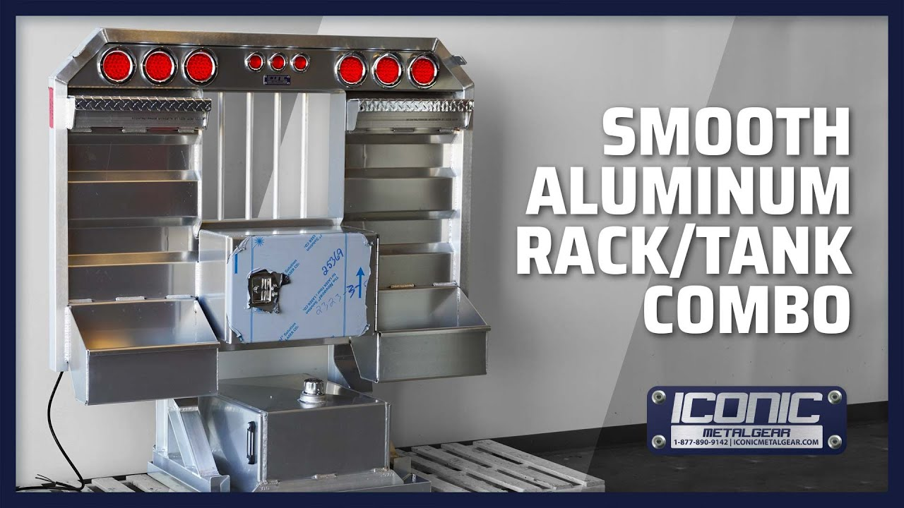 smooth aluminum semi truck hydraulic tank headache rack combo with light bar