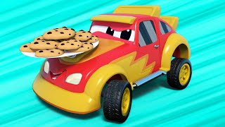 Truck videos for kids -  WOMEN'S DAY : the COOKIES thief SPEEDING away - Super Truck in Car City !