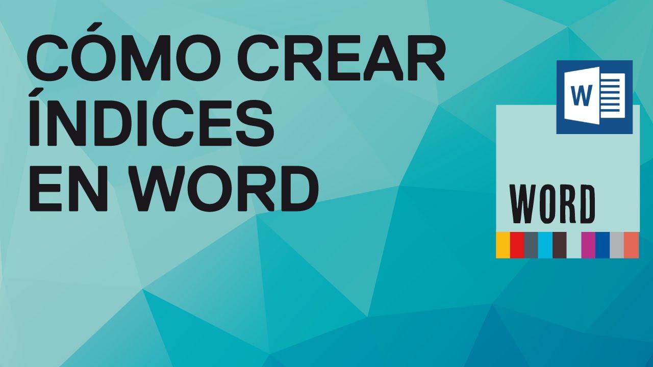 Como crear índices automáticamente en Word 2010 y 2007 - Tutorial de ...
