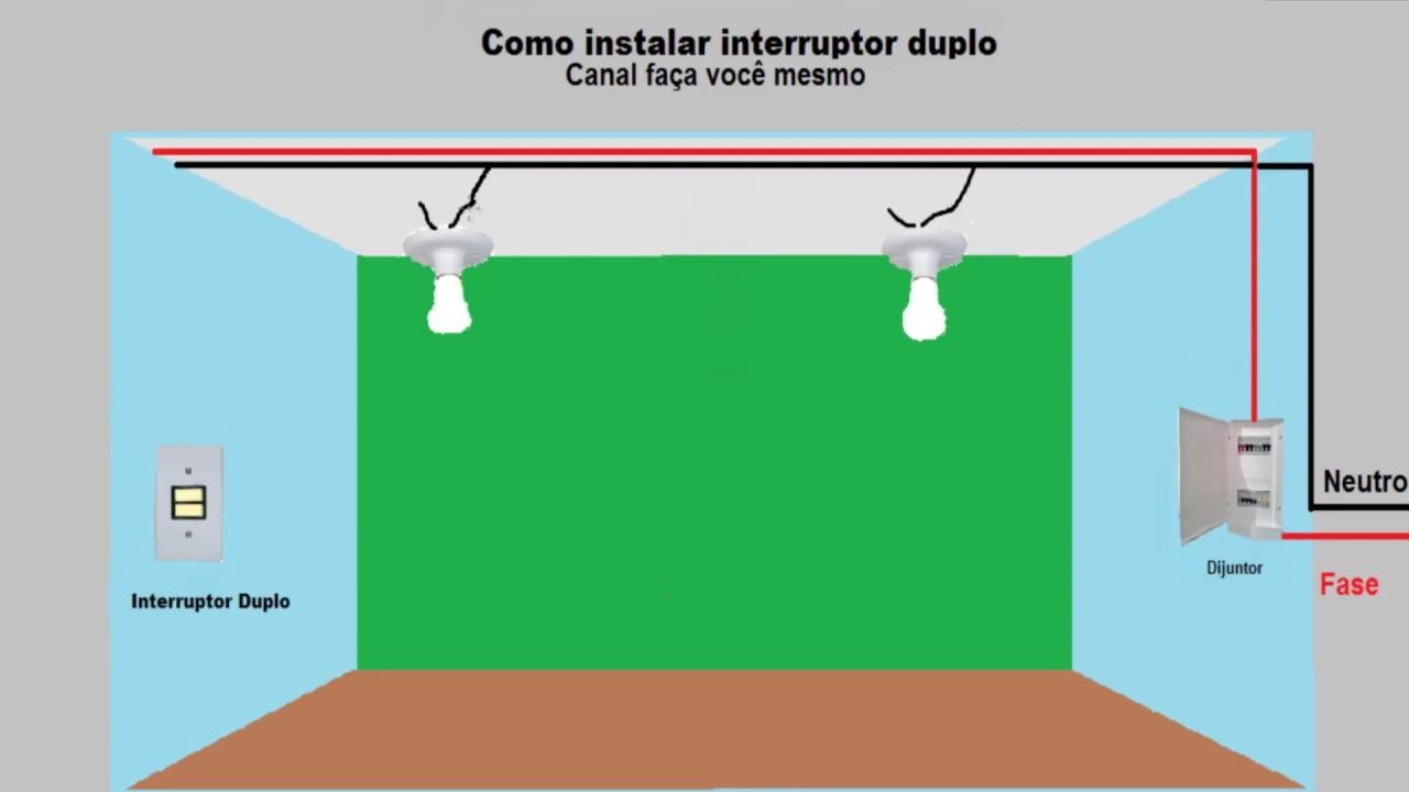 Como instalar interruptor duplo - YouTube