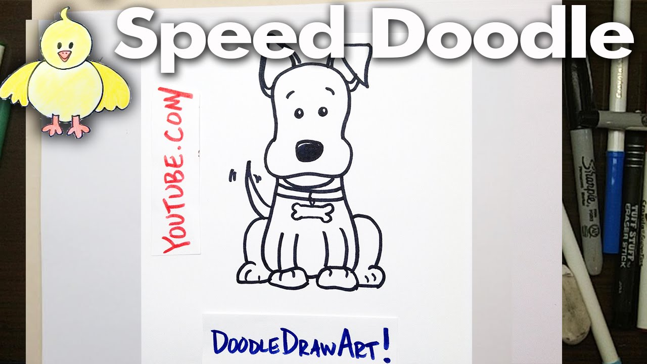 How To Draw A Cartoon Dog Speed Doodle Easy, Step By Step