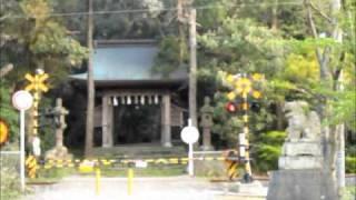 神社の境内の中を列車が通り抜けます。 鉄道好きでは無いので判りません...
