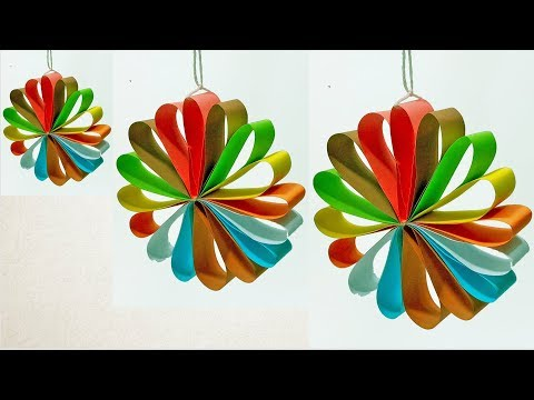 Paper Crafts Ideas For Christmas Decorations |  Multi Colored Hanging Paper Circle