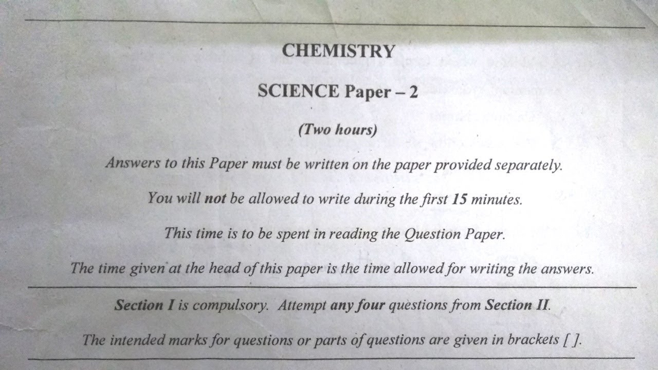 ICSE Chemistry 2017 Solved Question Paper