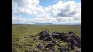 panoramic  Leitahraun lava fields + ocean from Iceland highlands