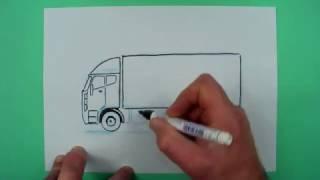 Wie zeichnet man einen einfachen Lastwagen ? Zeichnen für Kinder