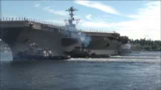 USS Stennis -- the seventh U.S. Navy Nimitz-Class Nuclear Powered Aircraft Carrier leaves port!