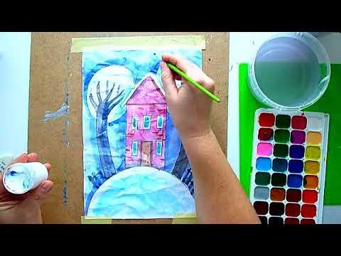 2 клас. Мистецтво. Пейзажна композиція на зім'ятому папері акварельними фарбами. Тема: Зимові настрої