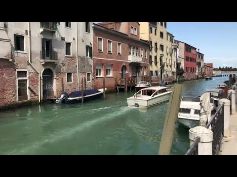 Boat Sailing Through The Canal  Stock Footage