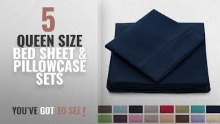 Top 10 Queen Size Bed Sheet & Pillowcase Sets [2018]: Queen Size Bed Sheets - Navy Blue Luxury Sheet