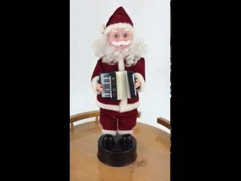 Animated Santa Claus Playing Accordion Musical Figurine