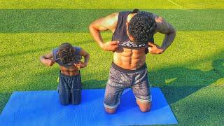 شاهد ماذا يفعل هذا الطفل للحصول علي عضلات البطن  (  شاهد للنهاية , المستوي 1 )