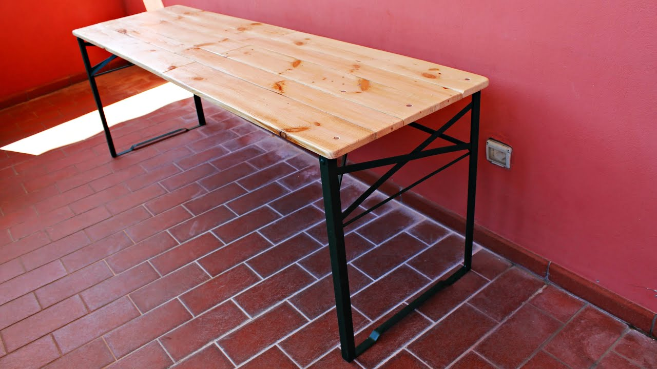 Costruire un tavolo pieghevole con i pallet Fai Da Te - YouTube
