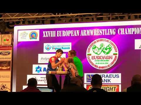 Tarasaitis VS Cherkasov (Semi Final -70 kg European Armwrestling Championship 2018)