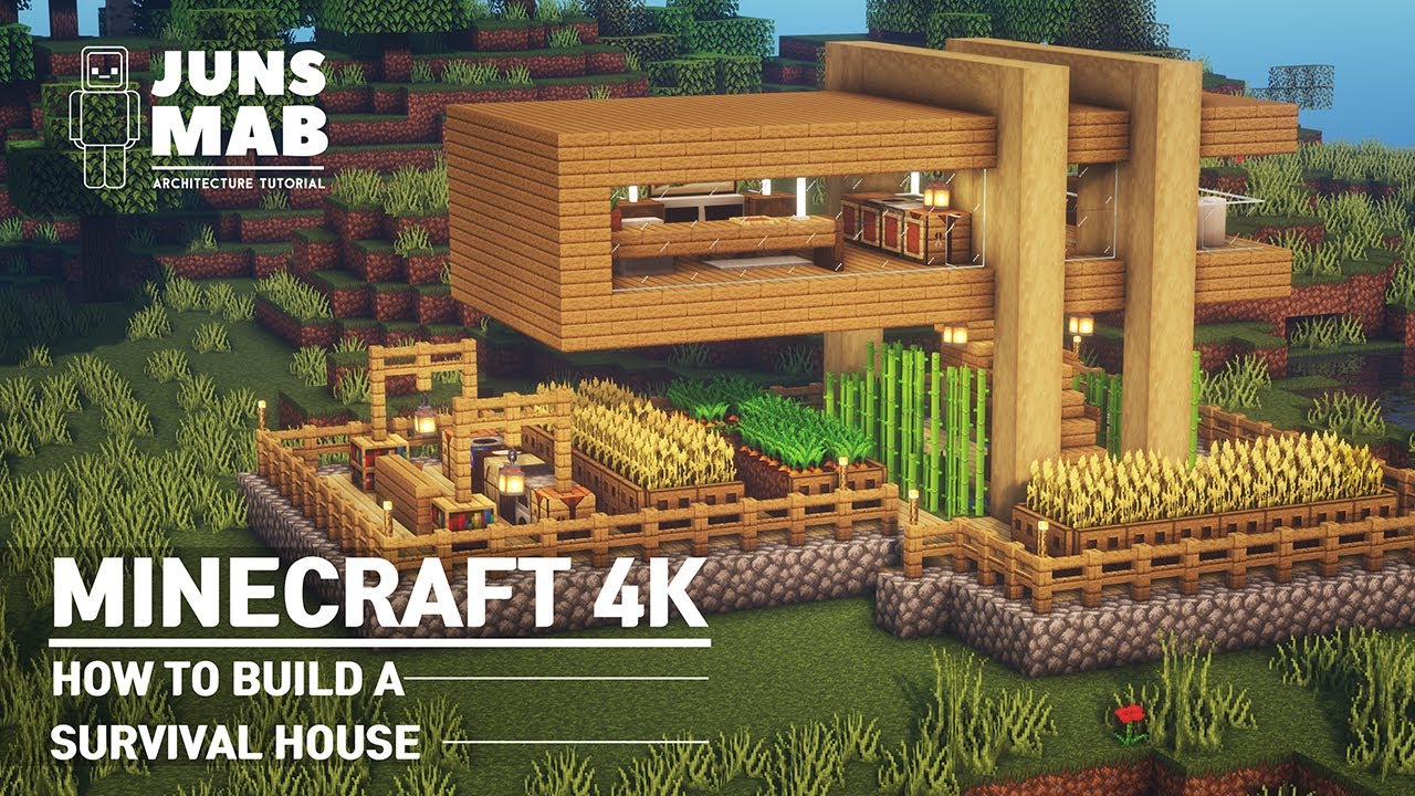 Minecraft : How to build a Survival House|Modern Wooden House #12