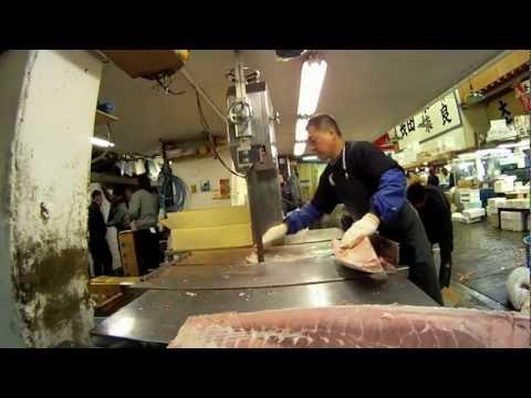 Tsukiji Fish Market (Tokyo Central Wholesale Market) in Tokyo.