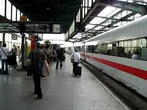 ICE arrives at Duisburg Hauptbahnhof.