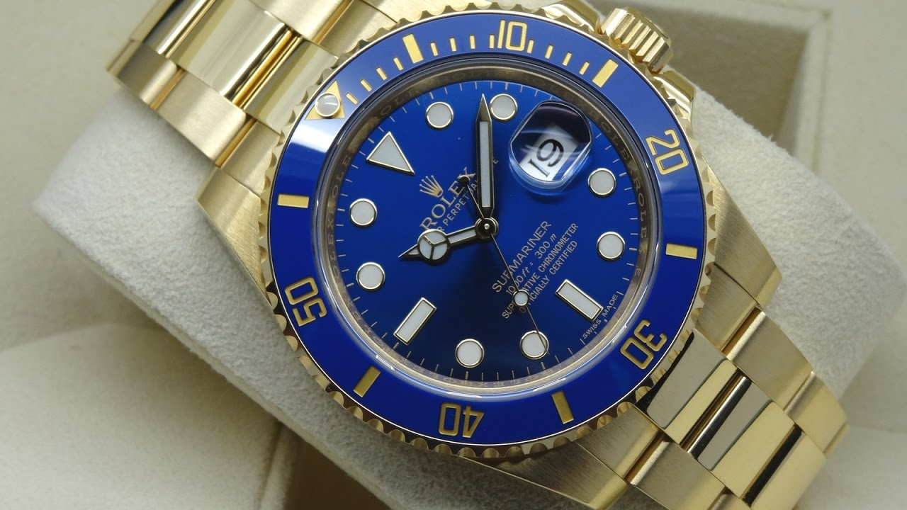 The beauty of Rolex Submariner 116618LB blue dial 40 mm yellow gold luxury  watch