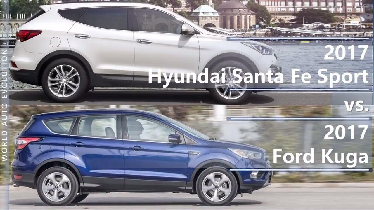 Santa Fe Ford >> 2017 Hyundai Santa Fe Sport Vs 2017 Ford Kuga Technical Comparison