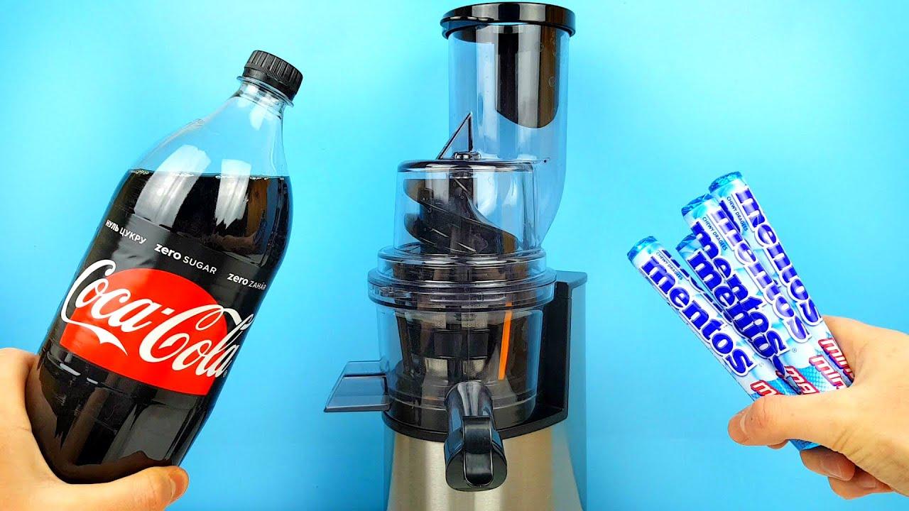 Experiment: Coca Cola and Mentos in a Juicer  @MrGear   @SkyBek   @VolcanoShow 