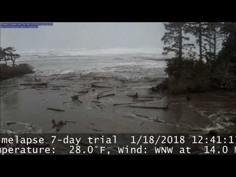 Time Lapse of Kalaloch Beach during the large wave event on 18 January 2018