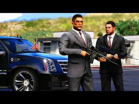 GTA 5 - SECRET SERVICE Mod! Escorting President Donald Trump to Air Force One (Marine One, SWAT)