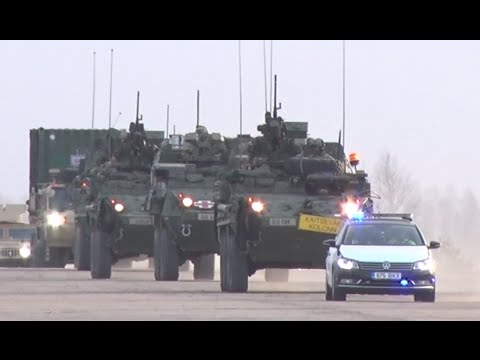 strength solidarity us military convoy rolls through europe