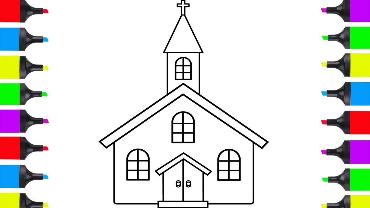 How to draw church simple coloring pages for children learn how to draw