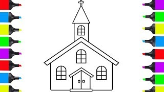 How To Draw Church Simple | Coloring Pages For Children | Learn How To Draw
