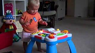 Bea (1 Year 2 Months + 7 Days) Dancing And Making Music Mix On Baby Einstein Activity Table