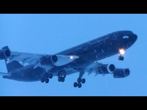 Swiss Space Systems BLACK A340 landing in Snow Storm at Zurich Airport