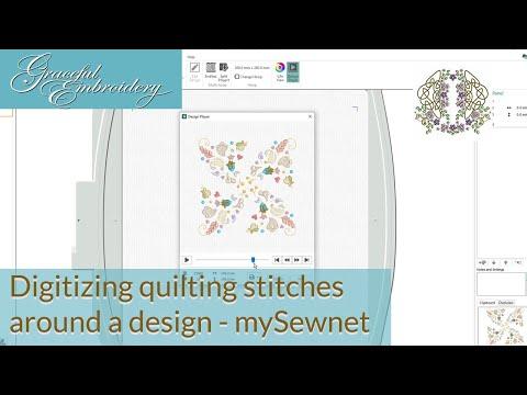 Digitizing a quilting stitches around a design in mySewNet™