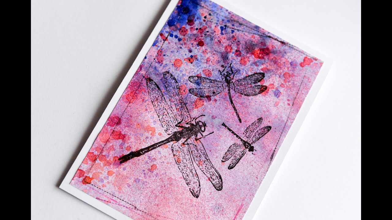How to make spring greeting card with dragonflies watercolor how to make spring greeting card with dragonflies watercolor step by step kartka z wakami m4hsunfo