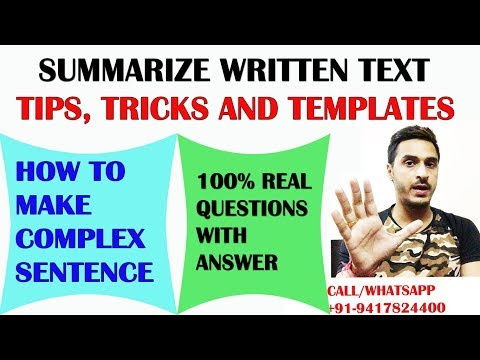 PTE WRITING: SUMMARIZE WRITTEN TEXT TIPS, TRICKS AND TECHNIQUES
