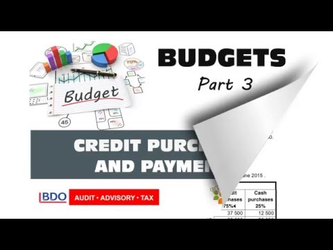 BUDGETS 3 - Credit Purchases and Payments to Creditors