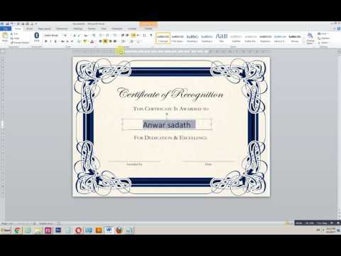 How to create a certificate in MS word