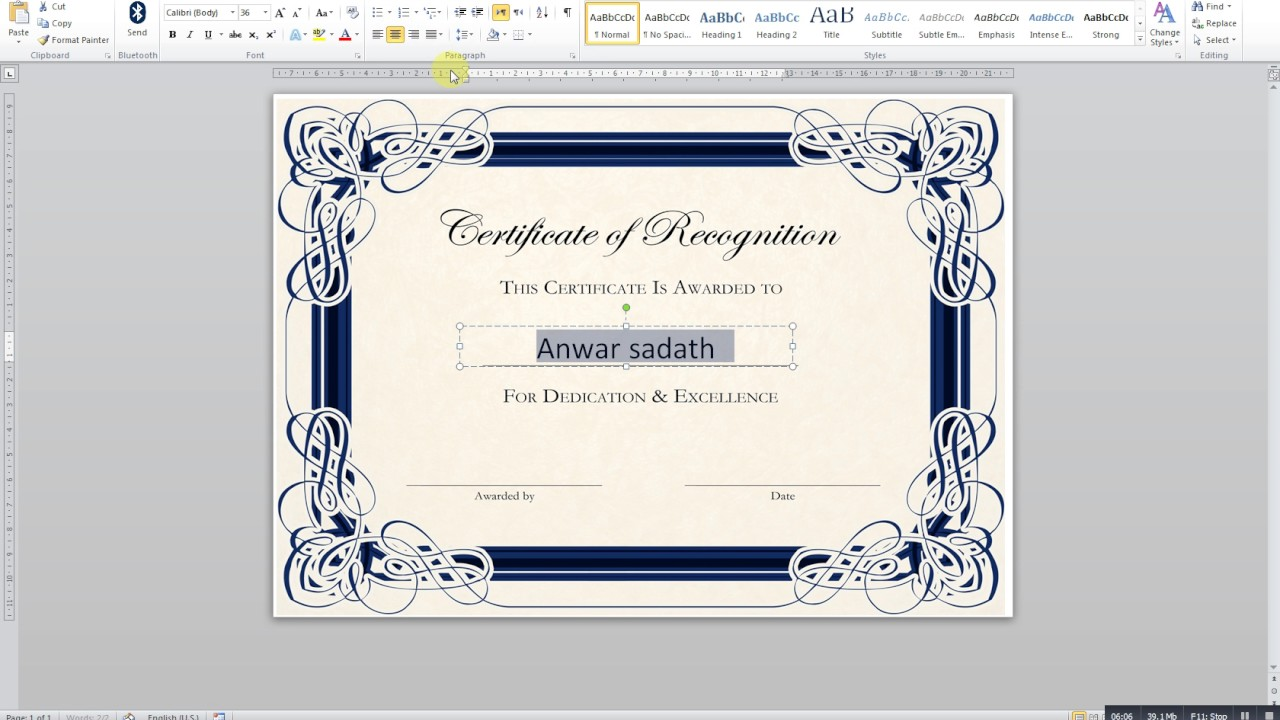 How to create a certificate in MS word YouTube