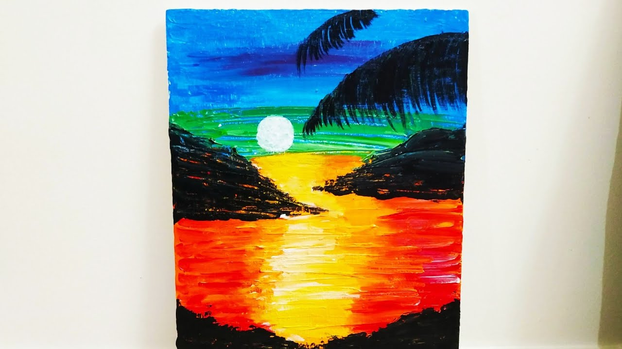 Easy Abstract Sunset Acrylic Painting For Kids Simple Abstract Painting Tutorial For Beginners