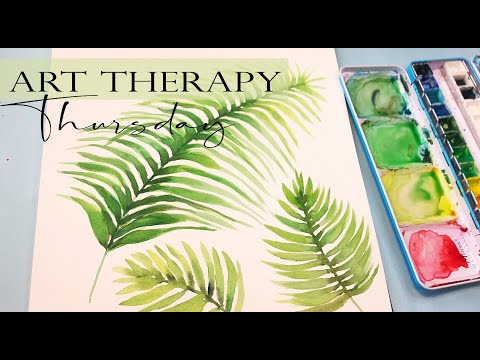 Watercolor Painting/ Palm Leaves/Art Therapy for Anxiety Relief/ Step by Step Tutorial