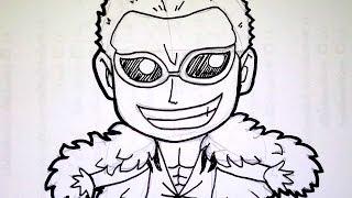วาดการ์ตูน กันเถอะ สอนวาดรูป การ์ตูน จิบิ โดฟลามิงโก้ Doflamingo จาก การ์ตูน วันพีช onepiece