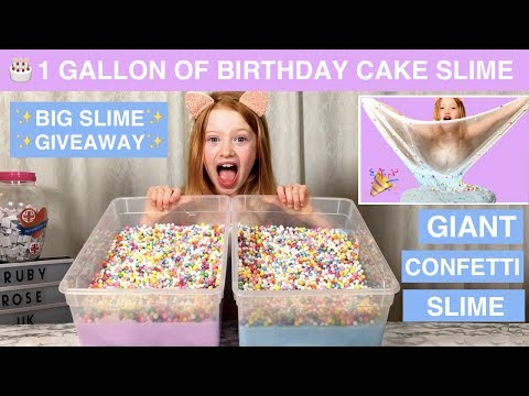 1 GALLON OF BIRTHDAY CAKE BUTTER SLIME | MAKING GIANT CONFETTI SLIME | RUBY ROSE UK SLIME GIVEAWAY