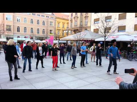 Zagreb rueda de casino flash mob afterparty - Ramon animacija - Cvjetni trg 28-3-2015